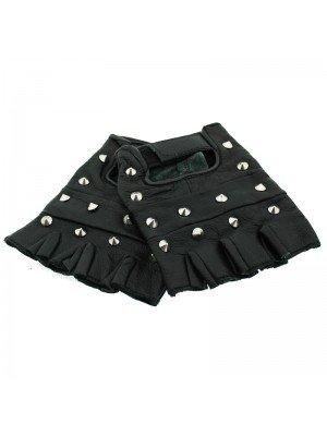 Conical Studded Fingerless Gloves - L