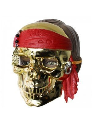 Gold Skull Pirate Mask