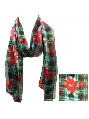 Satin Striped Mistletoe Christmas Design Scarf - Green