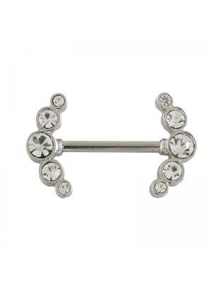 Wholesale Double Gem Set Crescent Nipple Bar