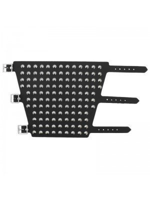 11 Row Large Conical Studded Leather Wristband