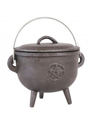 Large Cast Iron Cauldron with Pentagram (16cm)