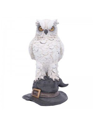 Soren White Horned Owl Perched on a Witches Hat Figurine