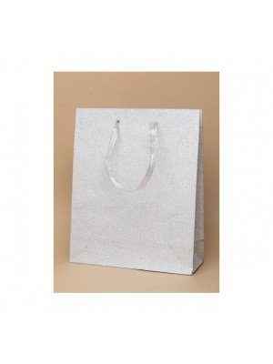 Silver Glitter Gift Bag With Ribbon Handle - 21x18x8cm