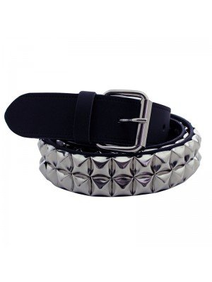 Leather 2 Row Pyramid Studded Belt Black (M) Wholesale