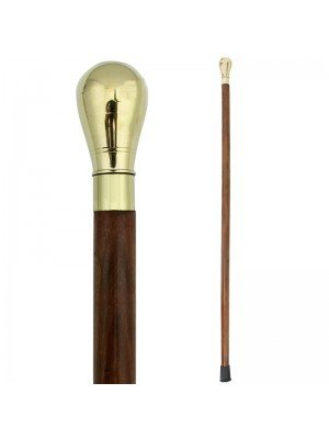 Brass Oval Ball Top Polished Walking Stick