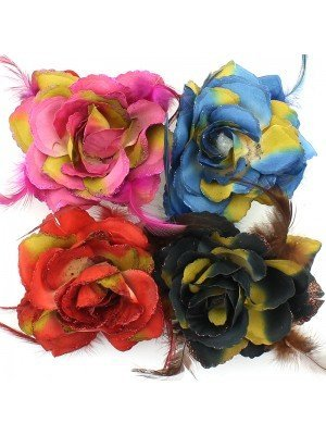 Rose Flower on Elastic and Clips - Dark Multiple Shades