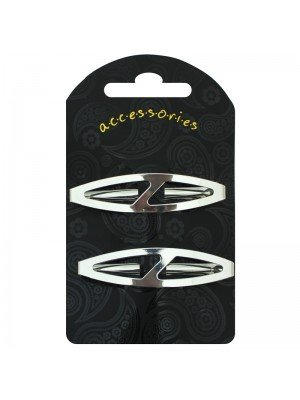 Oval Design Hair Clip (Silver)