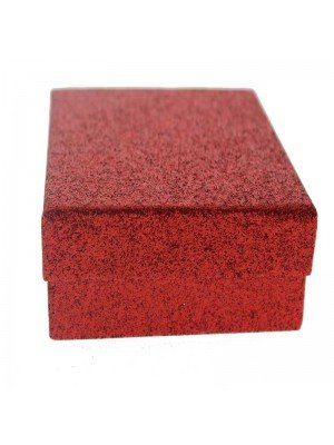 Red glitter gift box 9x9x3cm