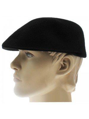 Mens Plain Wool Felt Flat Caps - Black (L)