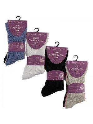 Wholesale Ladies Light Elasticated Top Ribbed Socks (3 Pair Pack) - Asst.