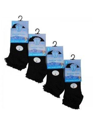 Wholesale Ladies Black Lace Trainer Socks - Fresh Feel (3 Pair Pack)