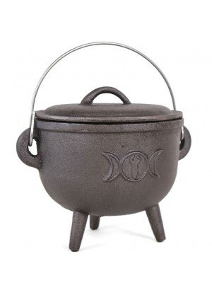 15cm Cast Iron Cauldron With Triple Moon