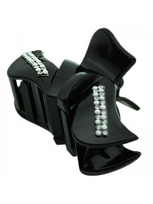 Ladies Fashion Clamps with Pearls and Gems (Black) 9cm