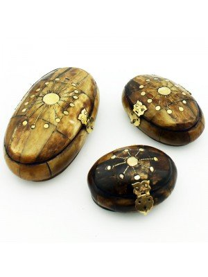 Oval Shaped Wooden Jewellery Boxes With Velvet Lining - (Assorted Sizes)