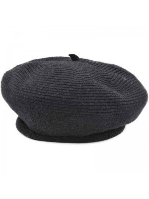 Ladies Wool Beret Hat - Black