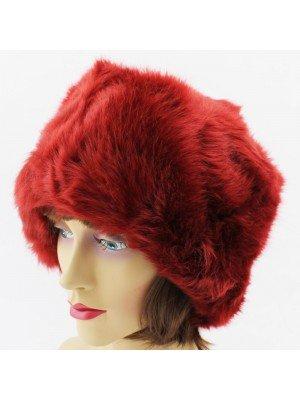 Ladies Fur Hat with Fleece Lining - Wine