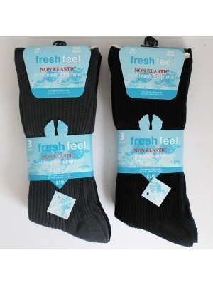 Wholesale Fresh Feel Men's Seam Free 100% Cotton Non Elastic Ribbed Socks - Dark Assorted