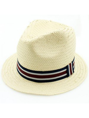 Ladies Straw Hat Black Detail