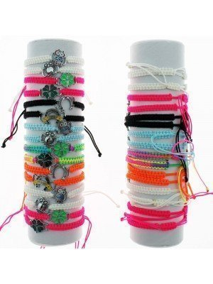 Friendship Bracelet On The Roll With Charms Assorted Neon
