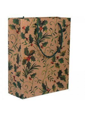 Gift Bag Christmas Holly Pattern Large (24x 33x 8cm)