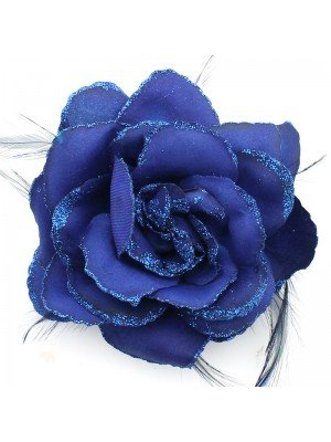 Flower on Elastic and Clips - Navy Blue
