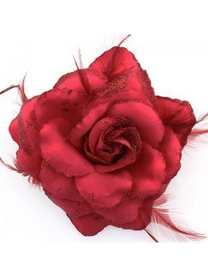Rose Flower on Elastic and Clips - Ruby Red