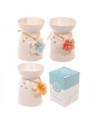 Speckled Cream Ceramic Oil Burner with Flower - Assorted Designs