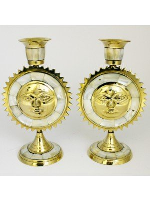Wholesale Brass Candles Holder Sun Shape- Pearls Details 18cm