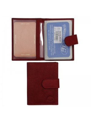 Wholesale Men's Florentino Leather Card Holder With 12 Slots - Red