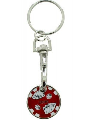 Wholesale Trolley Coin Keyrings-Poker Chips(Red)
