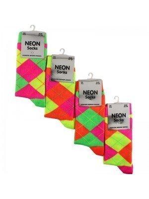 Wholesale Ladies Neon Argyle Pattern Socks (1 Pair Pack) - Asst.