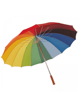 Wholesale Rainbow Golf Umbrella with Light Brown Handle