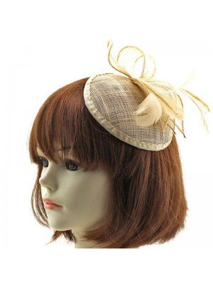 Flower Design Fascinator on Comb - Nude