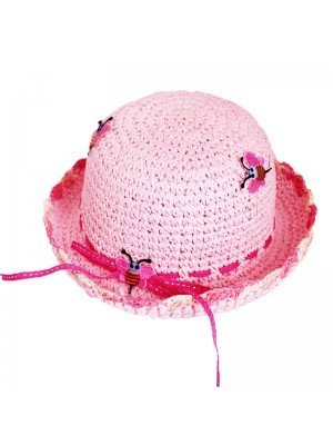 Girls Pink Straw Hat- Bee And Ribbon