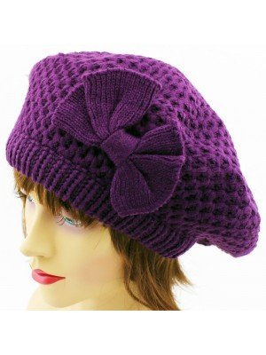Ladies Beret Hat with Bow - Assorted Colours