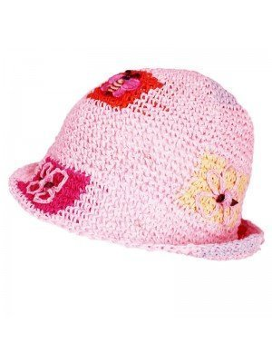Girls Pink Straw Hat- Bee And Flowers