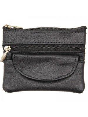 Wholesale Leather Coin Purse-Black(12cm x 9cm)