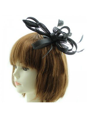 Black Coiled Net & Feather Fascinator On a Clear Comb