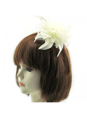 Flower Design Fascinator on a Clear Comb - Cream