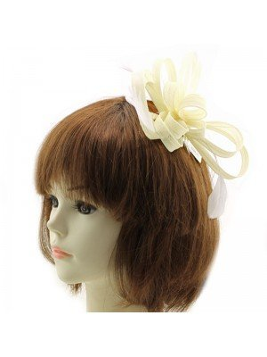 Fascinator with Ribbon & Feathers on Comb - Cream