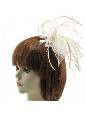 Fascinator with Feathers on Comb - Cream