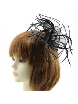 Fascinator on Comb with Feathers - Black
