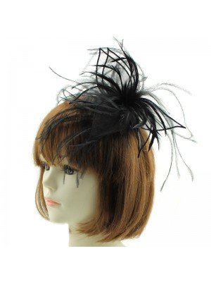 Fascinator on Aliceband with Feathers - Black