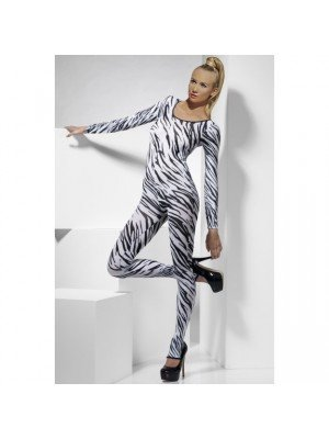Zebra Print Bodysuit, Black & White