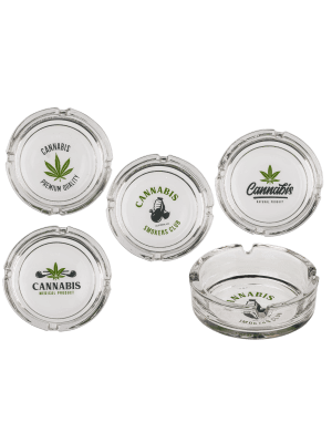 Wholesale Glass Ashtray - Leaf (Assorted Designs) -10.5cm