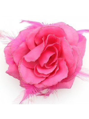 Rose Flower on Elastic - Bright Pink