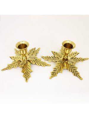 Brass Candles Holder Leaf  Shape- 7cm