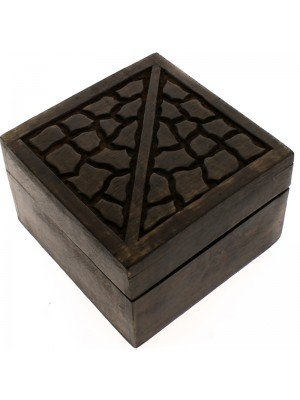 2in1 Dark Wooden Box Set- Cracked Wooden Design 16.5x16.5x9.5cm