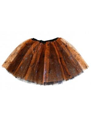 Cobweb Design 3 Layer Tutu Skirt - Orange/Black